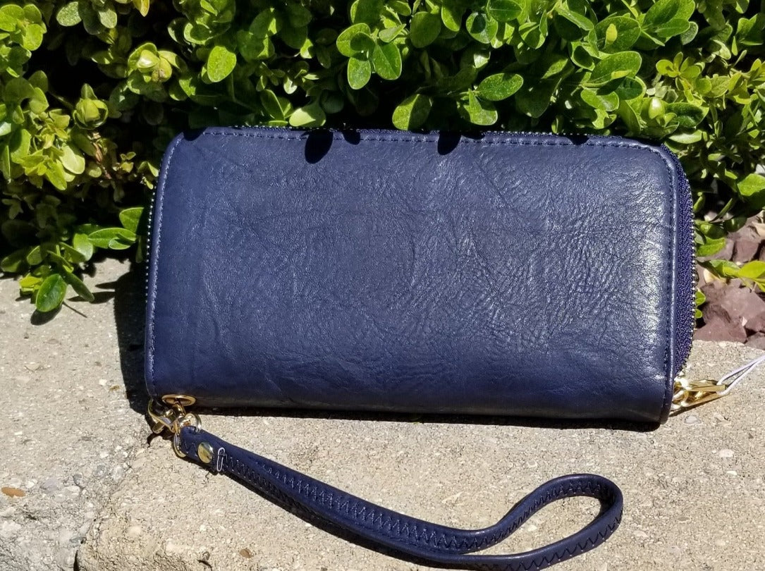 Navy Faux Leather Double zip Wallet Wristlet