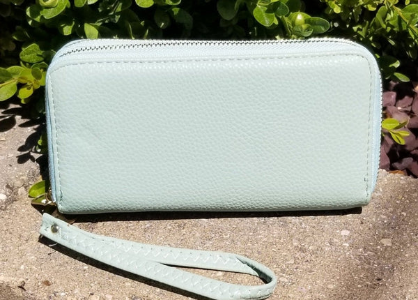 Mint Faux Leather Double Zip Wallet/Wristlet