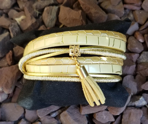 Blonde Faux Leather Double Wrap Bracelet Snap Closure