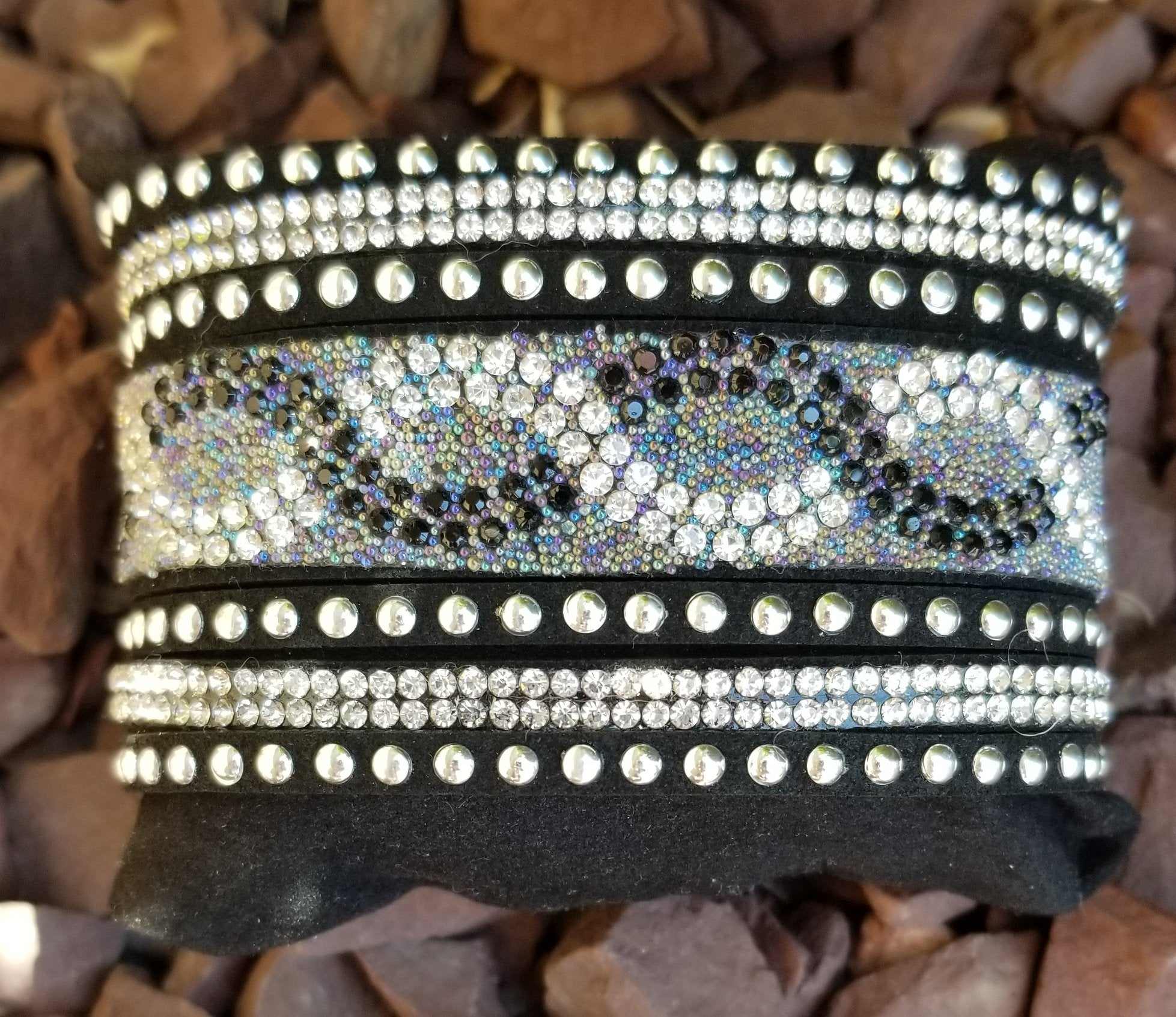 Leather Cuff Multi Strand Wrap Bracelet