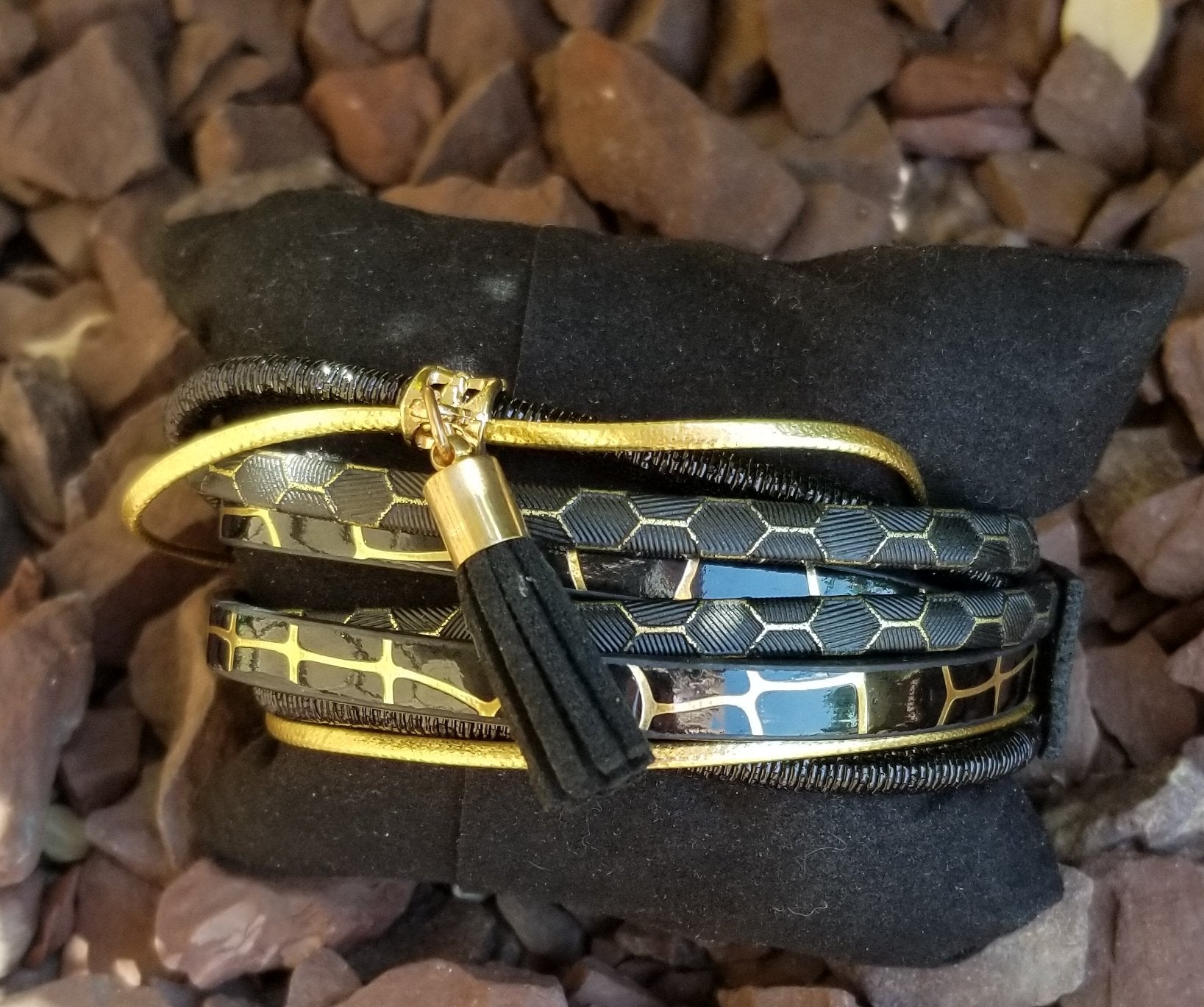 Faux Leather Black And Gold Multi Strand Wrap Bracelet