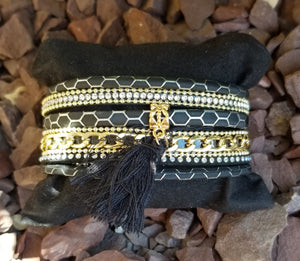 Faux Leather Cuff Multi Strand Black And Gold Wrap Bracelet