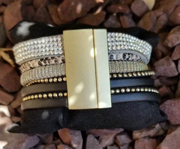 Faux Leather Cuff Multi Strand Black Wrap Bracelet