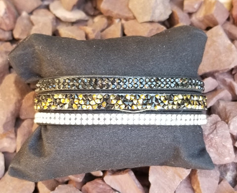 Faux Leather Cuff Black And Rhinestone Multi Strand Bracelet