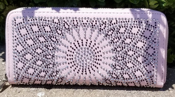 Rhinestone Pattern Accordian Wallet Pink