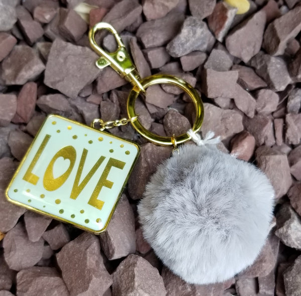 Inspirational Grey Pom Pom Faux Fur Key Ring KeyChain