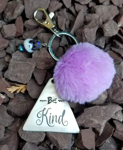 Inspirational Purple Pom Pom Faux Fur Key Ring