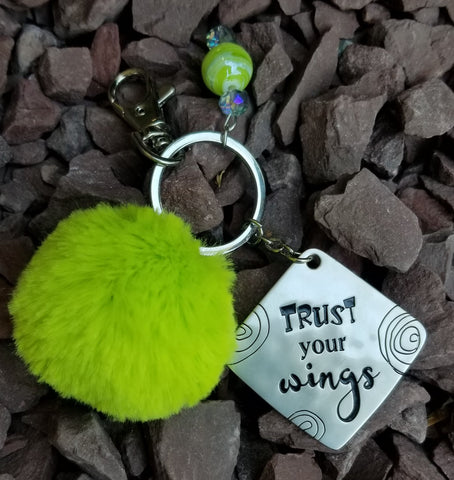 Inspirational Lime Pom Pom Faux Fur Key Ring