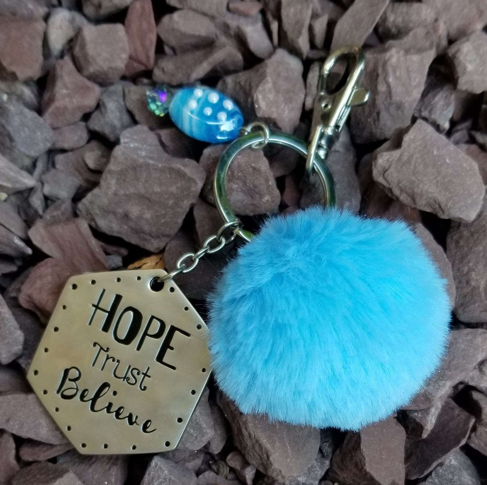 Inspirational Light Blue Pom Pom Faux Fur Key Ring KeyChain
