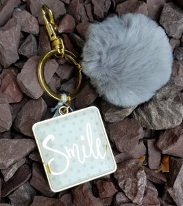 Inspirational Grey Pom Pom Faux Fur Key Ring