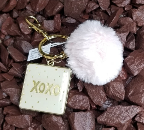 Inspirational Pink Pom Pom Faux Fur Key Ring