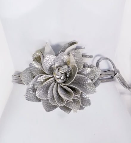 Silver Faux Leather Flower Wrap Belt