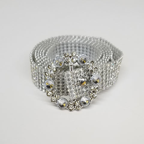 Silver Studded Belt Round Crystal Buckle