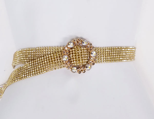 Gold Studded Belt Round Crystal Buckle
