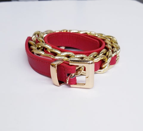 Silver Chain Link Red Threads Belt