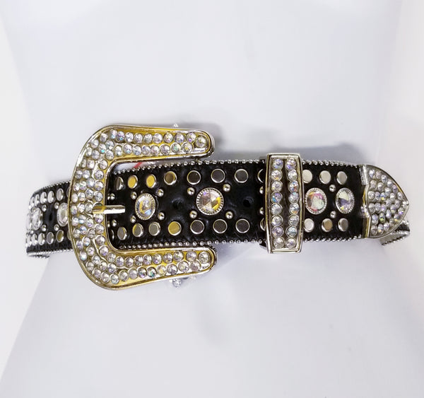 Western Style Black Studded Leather Belt
