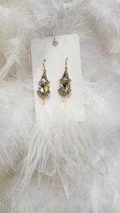 Feather Crystal Dangle Earrings