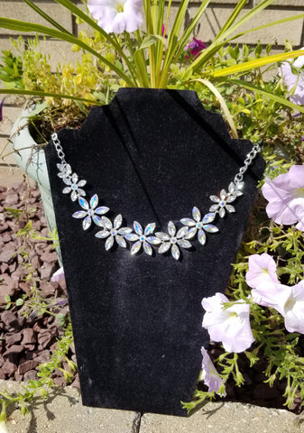 Flower Shaped Crystal Chain Adjustable Length Necklace