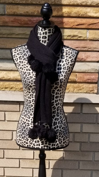 Pom Pom Black Neckwarmer Winter Scarf