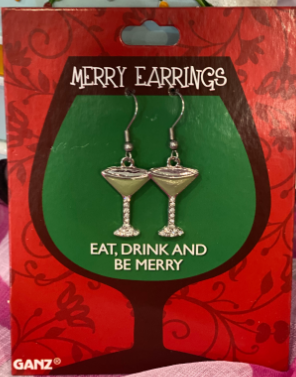 Eat Drink And Be Merry Martini Margarita Christmas Dangle Earrings