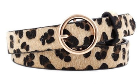 Faux Leather Leopard Print Patterned Ring Buckle Belt