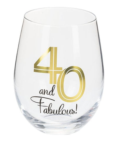 40 and Fabulous Stemless Wine Glass