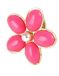 Pink Stretch Daisy Flower Ring with Pearl Accent