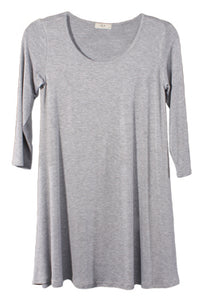 Grey Tunic Top Round Neck 3/4 Sleeves