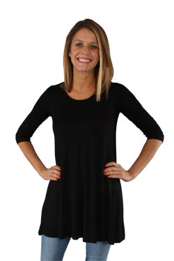 Plus Size Black 3-4 length sleeve Tunic Top