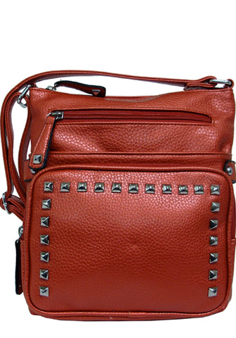 Red Faux Leather Messenger Crossbody Purse