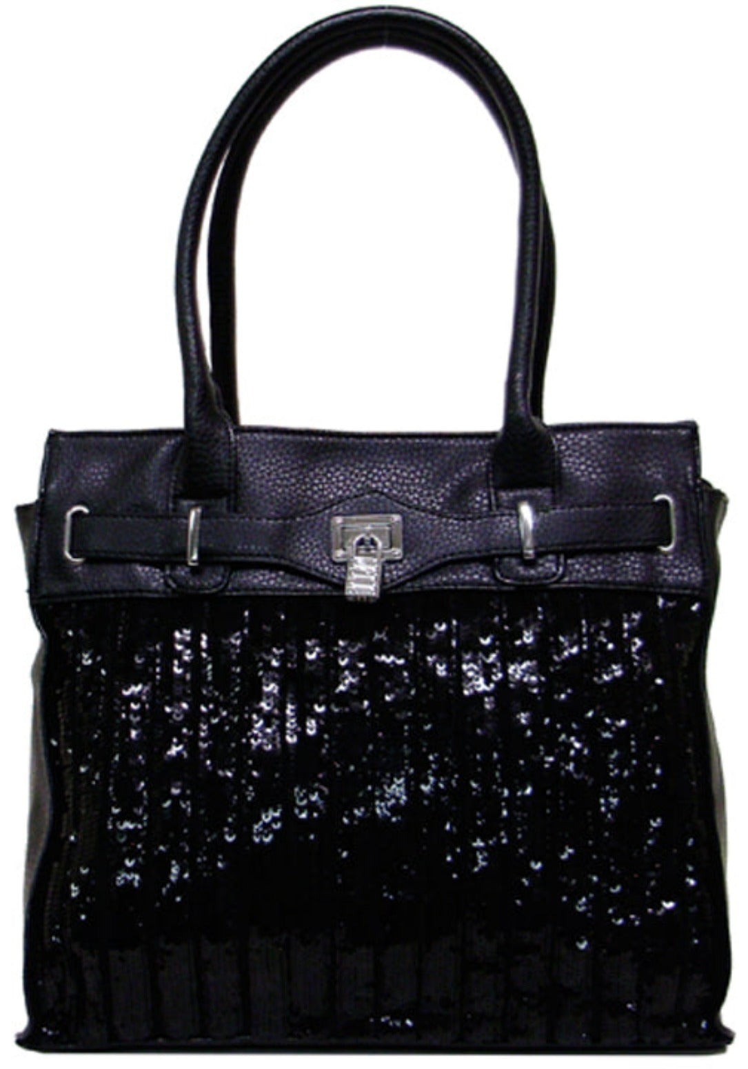Sequin Faux Leather Hobo Purse