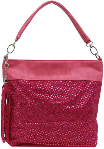 Pink Sequin Hobo Shoulder Purse
