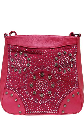 Pink Studded Rhine Stone Cross Body Messenger Purse