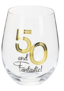 50 and Fantastic Stemless Wine Glass