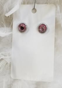 Pink Round Post Earrings