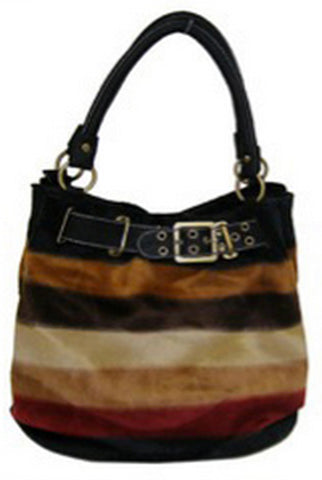 Black Faux Fur Oversized Striped Hobo Tote Bag Purse