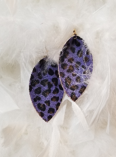 Purple Cheetah Print Leather Teardrop Leaf Earrings