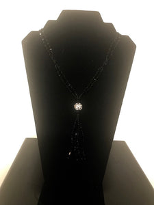 Black Beaded Long Tassel Necklace Rhinestone Ball Accent