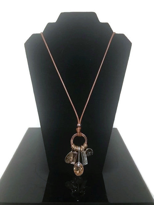 Hammered Copper Long Necklace Colored Stone Accents