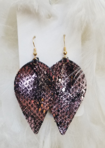 Snakeskin Leather Teardrop Earrings Copper