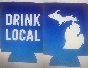 Blue Drink Local Flat Two Sided Can Koozie