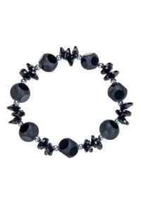 Black Crystal Beaded Stretch Bracelet