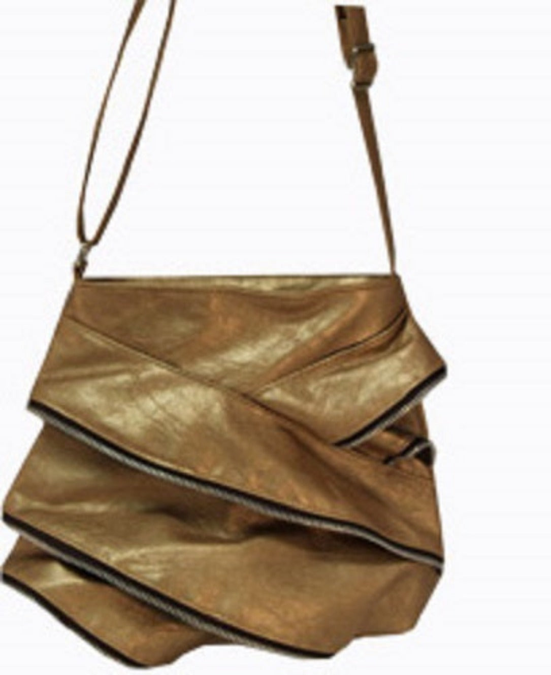 Ruffled Zippered Cross Body Purse Bronze