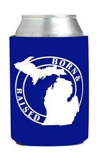 Born & Raised In Michigan Flat Can Coozie Blue