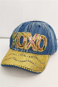XOXO Light Distressed Denim Baseball Cap