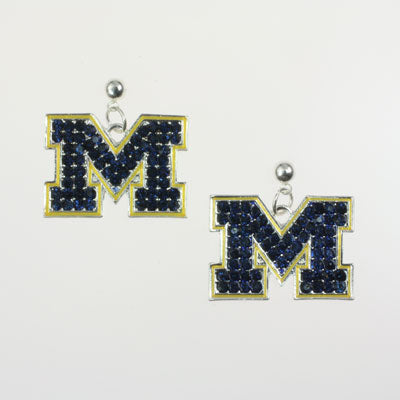 University of Michigan Crystal Logo Earrings