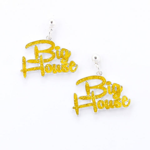 Licensed University of Michigan Big House Dangle Earrings