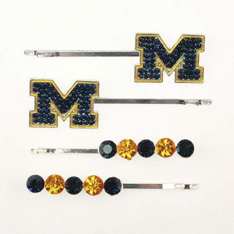 Michigan Crystal Logo Hair Pin Set