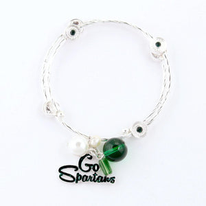 Michigan State University Go Spartans Licensed Wrap Bracelet