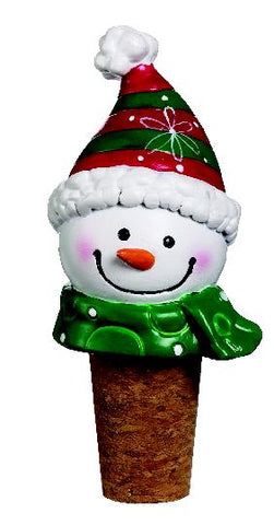 Snowman Christmas Green Scarf Wine Bottle Cork Stopper Topper
